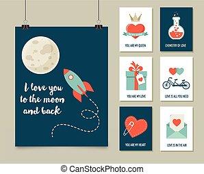 szeret, valentine's, poszter, köszönés, nap, kártya