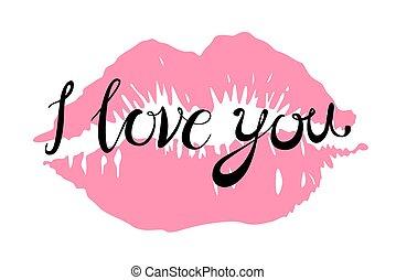 szeret, vektor, ajkak, csókol, rózsaszínű, ön, piros