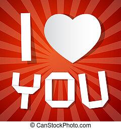 szeretlek, cím, és, papír szív, képben látható, piros háttér