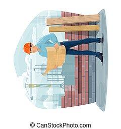 szerkesztés, építészmérnök, konstruál, vagy, foreman., házhely