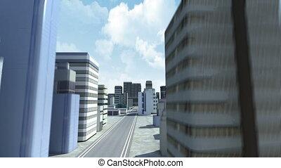 szerkesztés, épület, és, város, 2