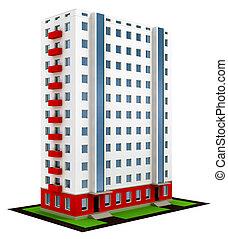 szerkesztés, épület, befejezett, modern, új