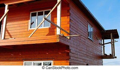 szerkesztés, épület, fából való, alatt