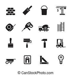 szerkesztés, és, épület, ikonok