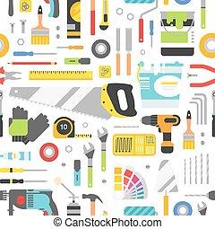 szerkesztés, betanul, felszerelés, kéz, háttér, style., lakás, seamless, eszközök, pattern.