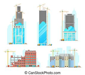 szerkesztés, elszigetelt, ikonok, vektor, épület