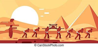 szerkesztés, eltöm, vektor, egyiptomi, robotol, épület., pyramids., lépés, ábra