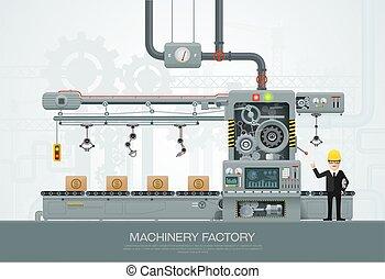 szerkesztés felszerelés, mérnök-tudomány, vektor, gyár, ipari, gép, ábra