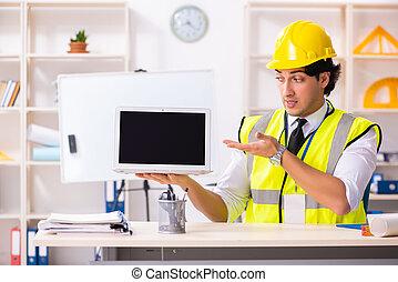 szerkesztés, hím, munka hivatal, konstruál