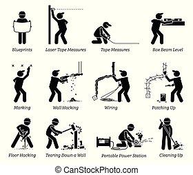 szerkesztés, helyreállítás, és, épület, javítás, icons.