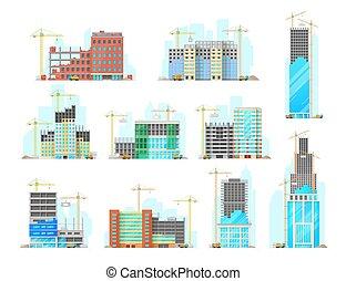 szerkesztés, ikonok, vektor, állhatatos, épület, felhőkarcoló