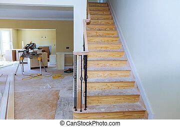 szerkesztés, kijavít, festmény, belső, installed, kívül, terv, drywall, alkalmazott, ház