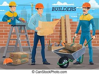 szerkesztés, konstruál, építő, munkás, házhely