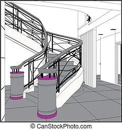 szerkesztés, lépcsőházak, spirál