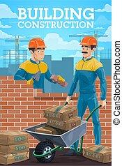 szerkesztés munkás, épület, vektor, házhely