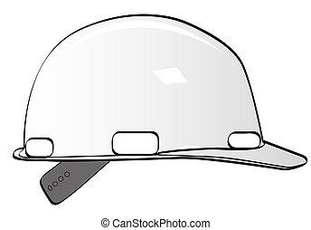 szerkesztés munkás, nehéz kalap, white