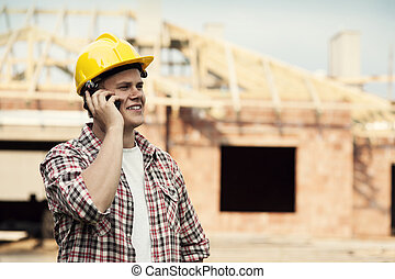 szerkesztés munkás, noha, mobile telefon