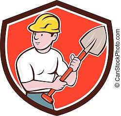 szerkesztés, pajzs, építő, ásó, karikatúra, munkás