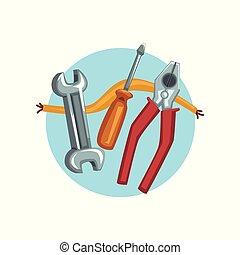 szerkesztés, rendbehozás, eszközök, ikon, fogó, csavarhúzó, és, egy, ficam, karikatúra, vektor, ábra