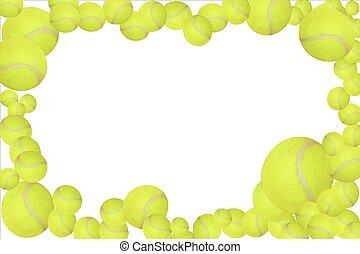 szerkeszt, tennis labda, könnyen, keret