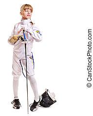 szermierka, epee, kostium, dzierżawa dziecko