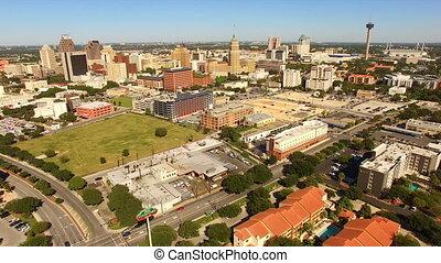 szeroki, san antonio, panoramiczny, sylwetka na tle nieba, południe, cantral, texas