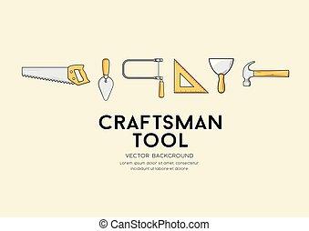 szerszám, vektor, tervezés, kézműves, háttér