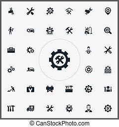 szerszámosláda, furgon, vektor, alapismeretek, egyszerű, refit, más, caution., fizikai munkás, állhatatos, synonyms, ábra, icons., rögzítő, toolkit