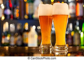 szervál, sör, pult, bár, kancsók