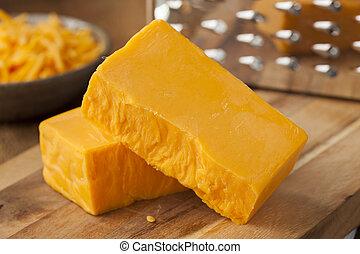 szerves, éles, cheddar sajt