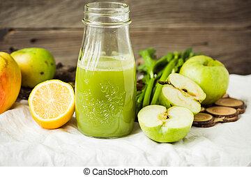 szerves, alma, zeller, lé, zöld, friss, detox