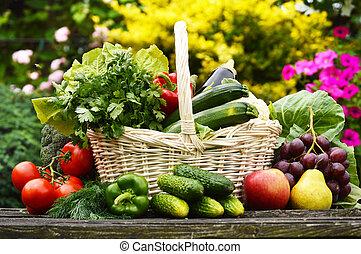 szerves, kert, vesszőfonás, növényi, kosár, friss