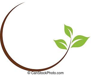 szerves, levél növényen, jel