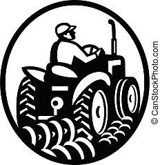 szerves, szántás, mező, retro, monochrom, traktor, farmer, ovális, szüret