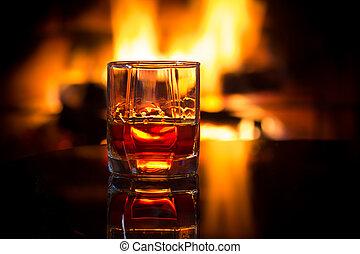 szeszes ital, pohár, meleg, elülső, fireplace., bor