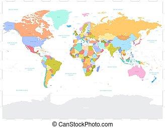 szevasz, részletez, színezett, vektor, politikai, világ térkép, ábra