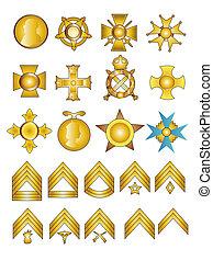 szewrony, wojskowy, symbole, rząd, medals