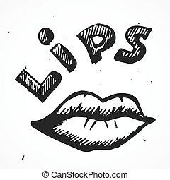 szexi, ajkak, kéz, karikatúra, húzott
