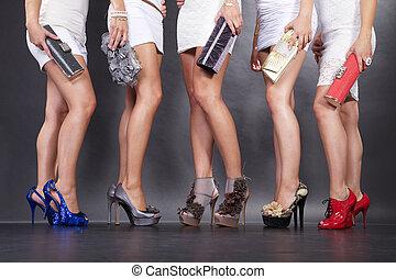 szexi, combok, csoport, cipők