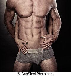 szexi, erős, meztelen, ember, és, női kezezés