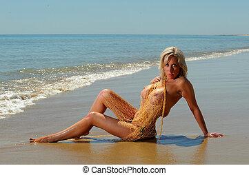 szexi, félig meztelen, tengerpart, leány