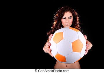 szexi, kisasszony, noha, egy, focilabda