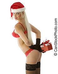 szexi, leány, karácsony, piros