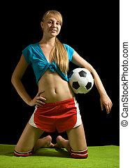 szexi, nő, noha, focilabda