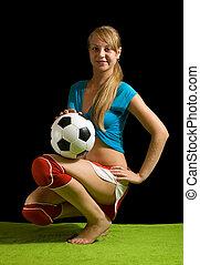 szexi, női, foci játékos