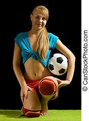 szexi, női, futball játékos, noha, labda