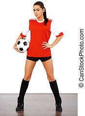szexi, női, futball játékos