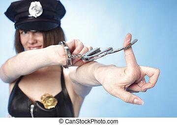 szexi, női, rendőrség tiszt
