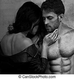 szexi, párosít, portrait., ember, noha, nude törzs, megható, övé, érzéki, gyönyörű, barátnő, nyak, noha, nagyon, emotion., closeup.