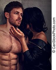 szexi, párosít, portrait., ember, noha, nude törzs, megható, övé, érzéki, gyönyörű, barátnő, nyak, noha, nagyon, emotion., closeup